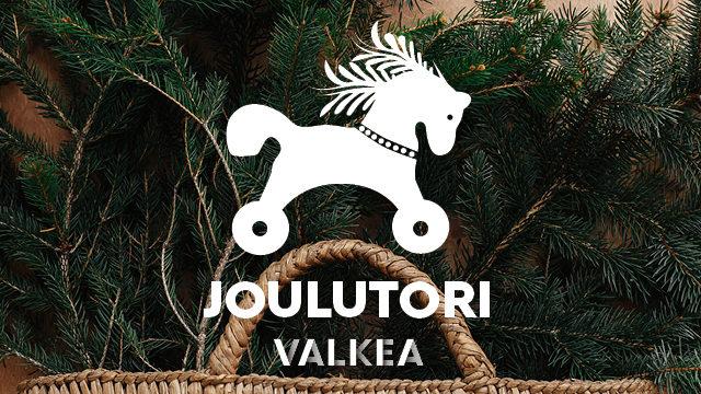 Kuvassa leluhevosen kuva ja teksti: Joulutori Valkea.