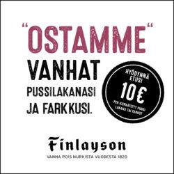 (Finlayson) Kierrätyskampanja Kierrätystuotteista 10 euron hyvitysseteli…