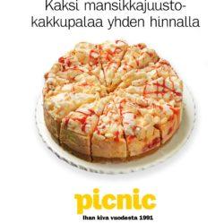(Picnic) YSTÄVÄNPÄIVÄVIIKKO 2 mansikkajuustokakkupalaa 1 hinnalla Voimassa…