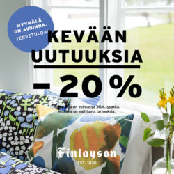 (Finlayson) Kevään uutuustuotteita -20 % Tule ostoksille Finlayson Valkeaan!…