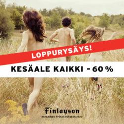 (Finlayson) Kesäalen loppurysäys Finlaysonilla! Kaikki ALE-tuotteet -60 %…